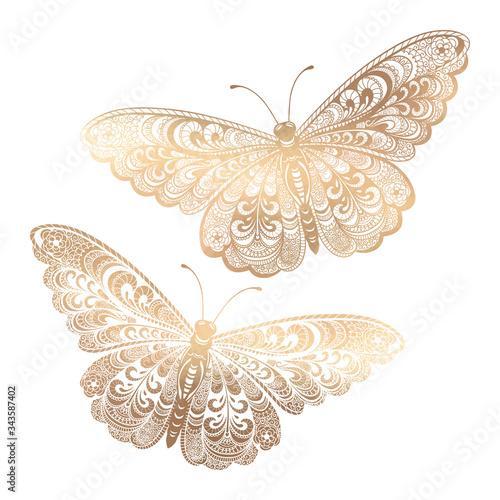 Hand drawn outline set of gold zentangle butterflies on white background Fototapeta