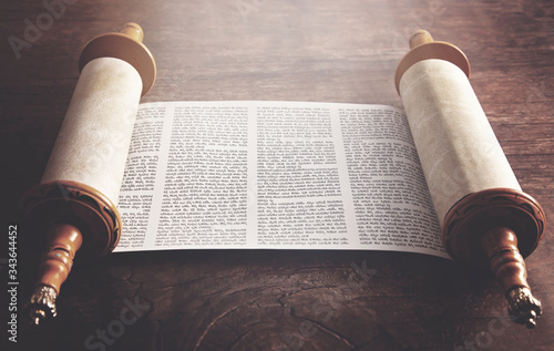 Fotografie, Obraz An Ancient Looking Hebrew Scroll of the Torah