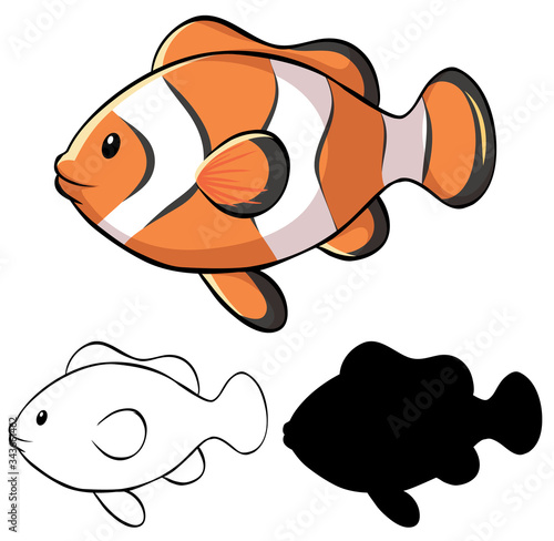 Stampa su Tela Set of clownfish cartoon