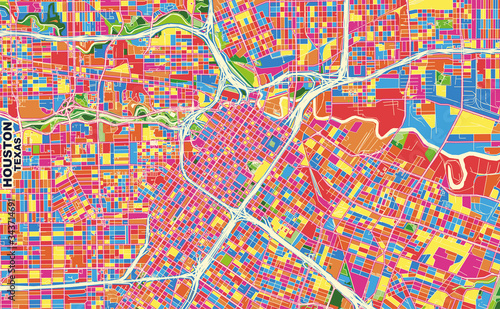 Fotografie, Obraz Houston, Texas, U.S.A., colorful vector map