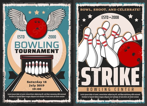 Photo Bowling tournament, leisure and entertainment sport center, vector vintage posters