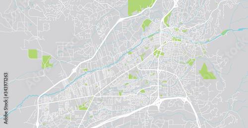 Fototapeta premium Mapa miasta wektor miejskich Santa Fe, USA. Stolica stanu Nowy Meksyk
