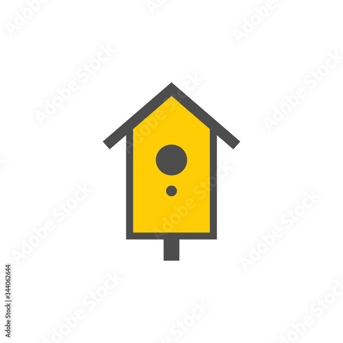 Photo Wooden birdhouse colorful vector icon, nature simple illustration