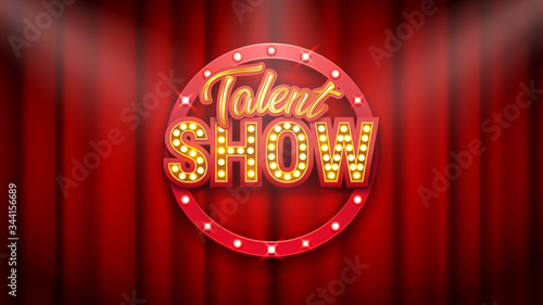 Fotografia Talent show banner, poster, gold inscription on red curtain