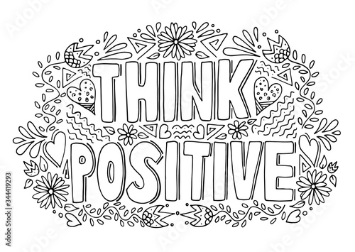 Think positive black and white handwritten motivational word with doodle pattern, vector illustration