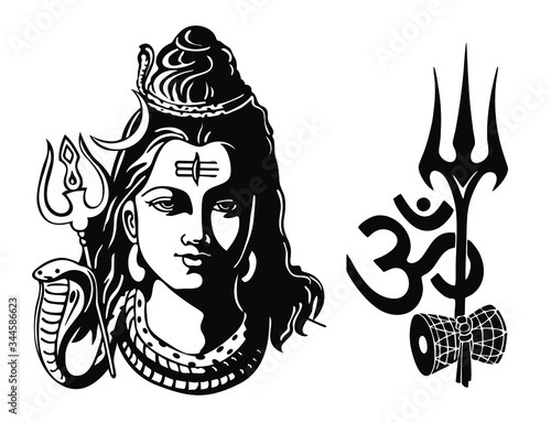 Fotografia Lord Shiva with Trident, Om and Damroo vector illustration