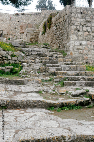Tablou Canvas Ancient Steps to the Palace of  Caiaphas, near the Church of Saint Peter in Gall