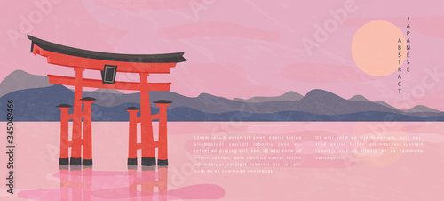 Photo Oriental Japanese style abstract pattern background design travel nature landsca