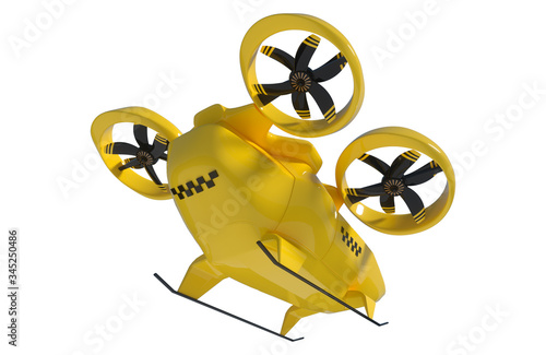Cuadros en Lienzo Yellow flying taxi isolated on white background, city electric transport drone