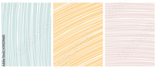 Set o 3 Abstract Geometric Layouts. White Irregular Hand Drawn Scribbles on Pale Pink, Yellow and Mint Green Backgrounds. Funny Simple Creative Design. Infantile Style Stripes and Mesh Graphic.
