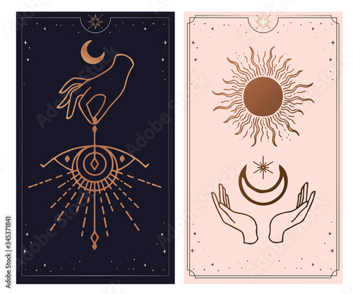 Fotografia moon and sun Hands, Vintage Fortune Teller Hand with palm reading chart