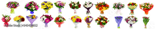 Set of flowers bouquets isolated on white collage Fototapete