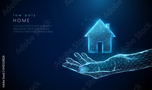 Open giving hand with country house icon.