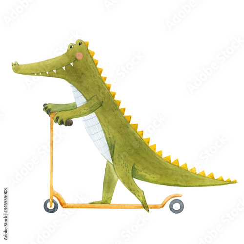 Beautiful stock illustration with cute watercolor crocodile on scooter Fototapete