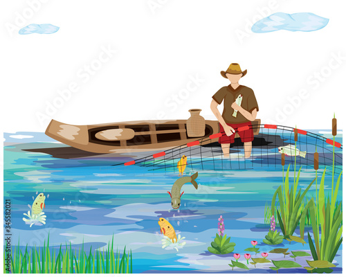 Fototapeta Fishermen sit on sampan trap fish with nets vector design