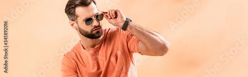 Canvas Print panoramic shot of stylish young man posing in shorts, summer t-shirt and sunglas