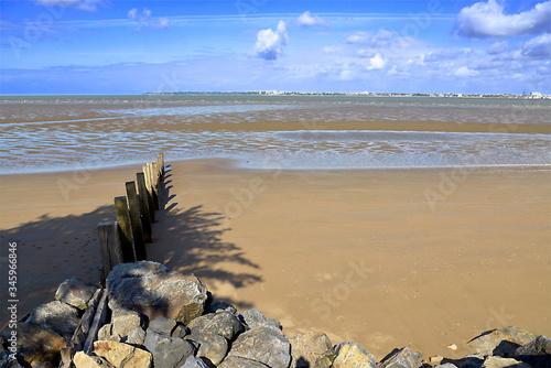 Canvas Print Beach at low tide of Saint Brevin les Pins in Pays de la Loire region in western