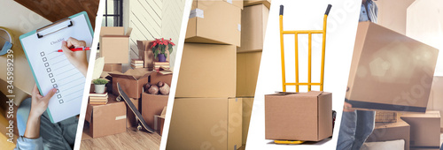 Obraz na plátně Moving House - illustration of the different stages of a move - Web banner desig