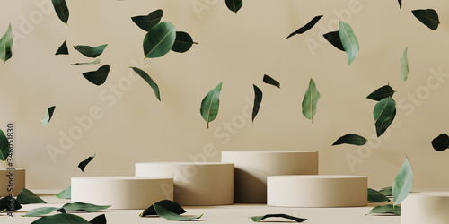 Cosmetic background for product presentation. Beige paper podium and falling green leaves on beige background. 3d rendering illustration.