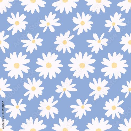 Billede på lærred Simple daisy flower background pattern vector