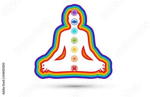 Photographie sette, 7, chakra meditazione, nomi