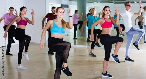 Fotografia, Obraz joyous men and ladies dancing aerobics at lesson