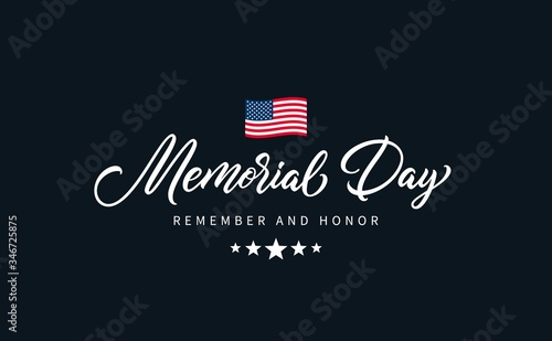 Obraz na plátně Memorial Day text with lettering Remember and Honor