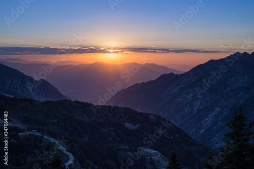 Fototapeta Scenic View Of Mountains Against Sky During Sunset