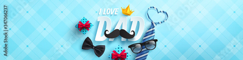 Photographie Happy Father's Day poster or banner template with necktie,glasses and gift box on blue