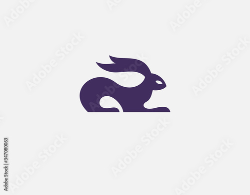 Fototapeta Minimalistic abstract purple hare logo icon for your company
