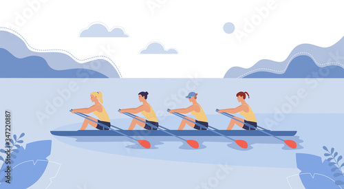 Fotografie, Obraz Four female athletes are swimming on a boat