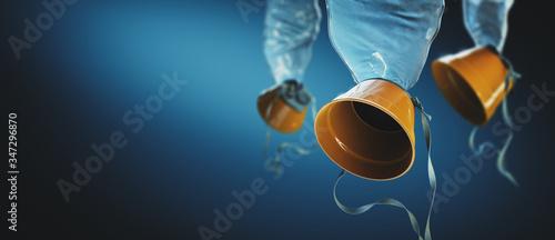 Photo oxygen masks on a blue background / 3D illustration