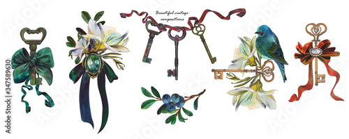 Foto Beautiful compositions of vintage elements consisting of keys, birds, bows and ribbons, jewelry, brooch
