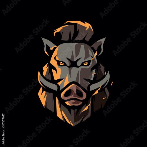 Leinwand Poster hipster boar logo design vector