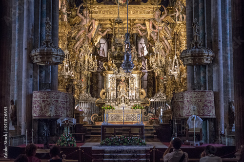 Obraz na plátně Santiago de Compostela Cathedral inside capital of galicia