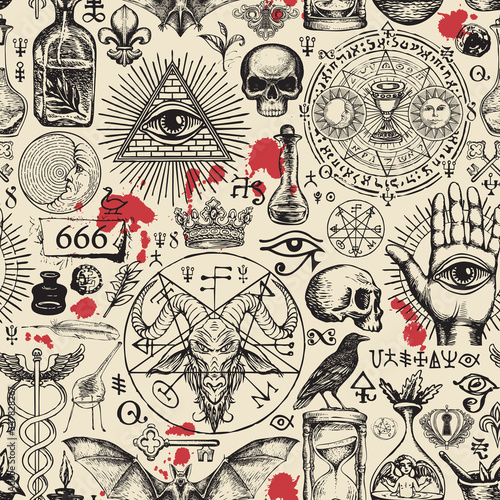 Fotografia Vector seamless pattern on a theme of freemasonry, satanism and occultism in retro style