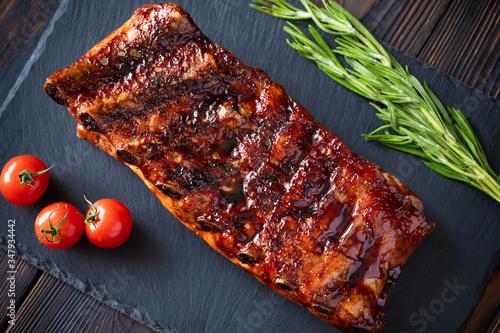 Obraz na plátně Grilled pork ribs