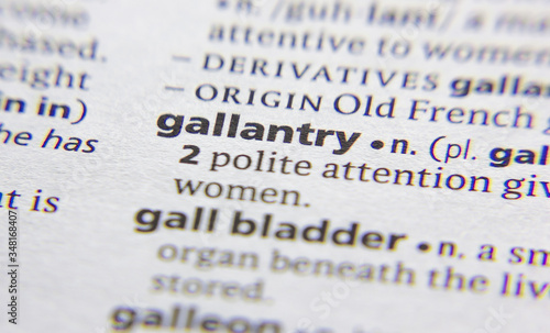 Foto Gallantry word or phrase in a dictionary.