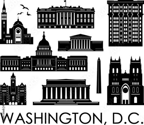 Valokuva WASHINGTON D.C. Columbia City Skyline Silhouette Cityscape Vector