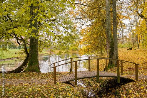 Fotografiet Footbridge By Pond At Park During Autumn