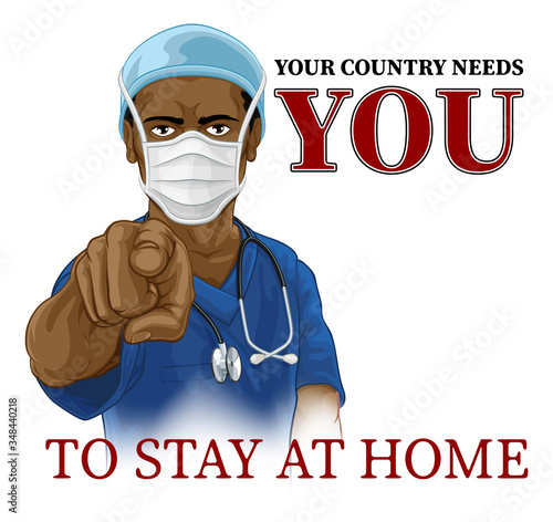 Canvas Print A nurse or doctor in surgical or hospital scrubs and mask pointing in a your country needs or wants you gesture