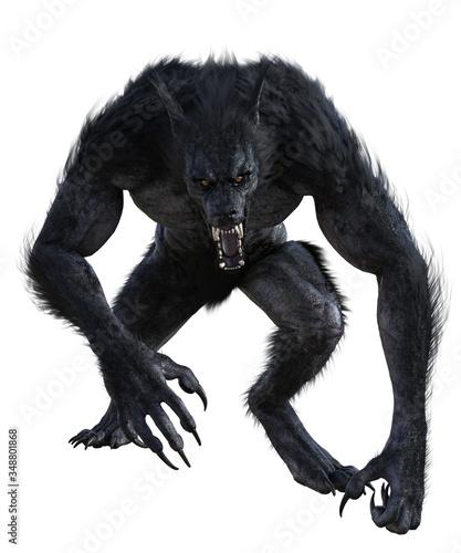 Photo Werewolf isolated on white, 3d render.