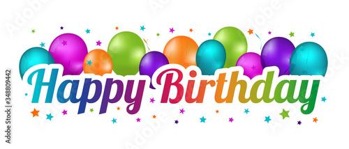 Photo Happy Birthday Banner - Colorful Vector Illustration