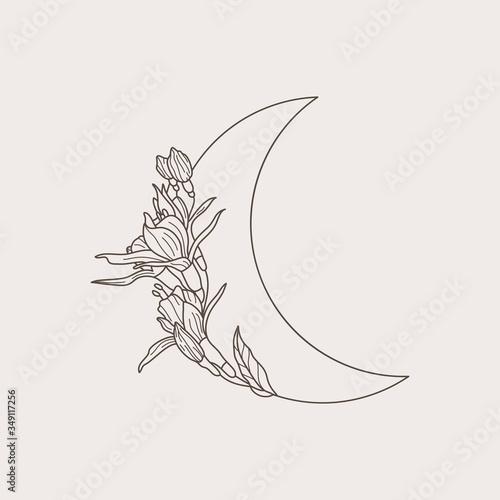 Cuadros en Lienzo Crescent moon of flowers in a trendy minimal linear style
