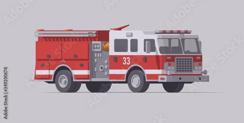 Obraz na plátne Vector red fire truck