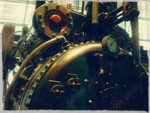 Photo Close-up Of Steam Engine In Factory
