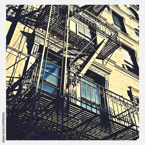 Canvas Print Low Angle View Of Fire Escape Outside Building