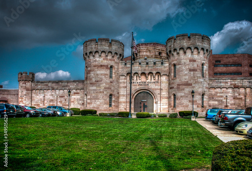 Fotografie, Obraz The Lancaster County Prison is distinctive in style with castle-like towers