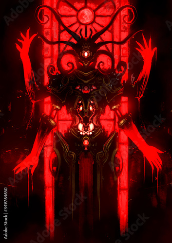 A mystic demon with many bloodied hands and horns engaged in a spiral, its eyes glowing red, a blood-red window behind it Fototapeta