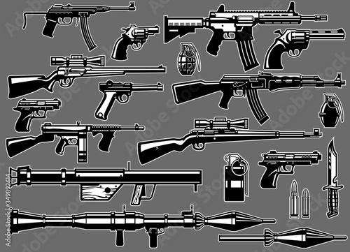 Fotografie, Obraz set bundle of military guns and rifles